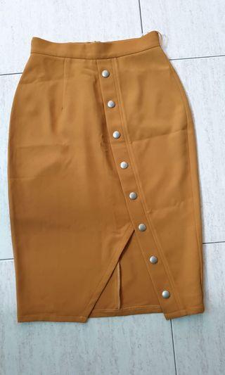 Mustard Button Down Skirt