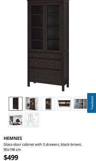 IKEA Hemnes glass door cabinet with 3 drawers - $100