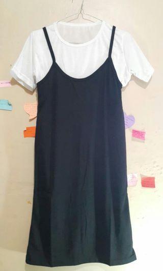 Dress Hitam Set Pinafore
