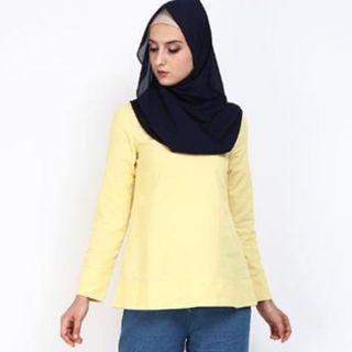 POPLOOK Dusha Flared Blouse Yellow SIZE:XS (RM30 FREE POSTAGE)