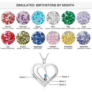 🚚 Personalized Engraving Names Birthstones Heart Pendant Women Authentic Silver Necklace Jewelry Women Fine Jewelry