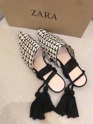 Original Zara woman knit ankle strap slip on sandals / flat shoes 35 36 37 38 39 40