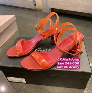 Charles n keith transparant red sandal wedges