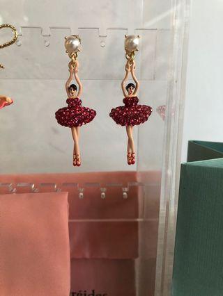🚚 全新Les Nereides 芭蕾舞珍珠紅色滿版水鑽立體耳環