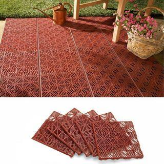 Garden Path and Patio Decking Interlocking Tiles- Terracotta colour - 300x300x15mm