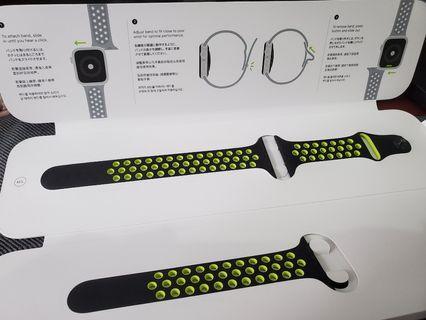 44mm apple watch 3/4 黑螢光黃錶帶