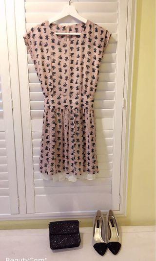 🚚 我的小巴黎 雪紡印花洋裝 浪漫雪紡