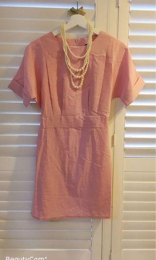 我的法式優雅 簡約設計剪裁 洋裝 乾燥玫瑰色 正式 休閒