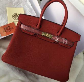 Red GHW Birkin 25 Bag / High quality GradeAAA replica Hermes merah gold
