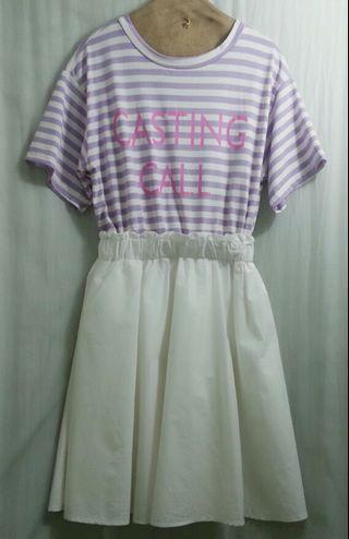 🚚 落肩粉紫條紋上衣拼接米白棉質裙