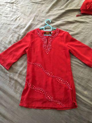 Maroon Colour Beaded Baju Kurung