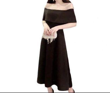 一字膊連身裙 graddin裙 ball 晚裝 grad din 黑色 顯瘦