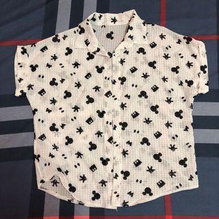 米老鼠造型雪紡襯衫