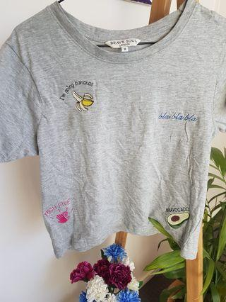 Embroided Grey Tee