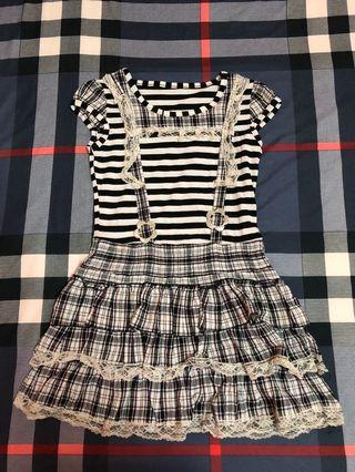 可愛黑白假吊帶裙