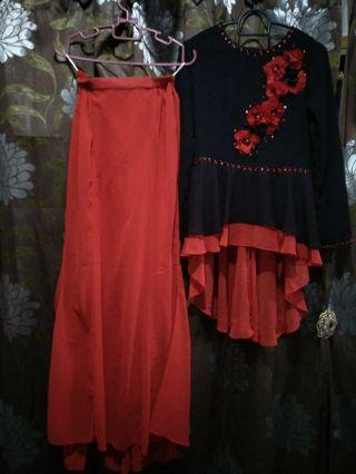 CLEARANCE $10 RED AND BLACK MODERN KURUNG
