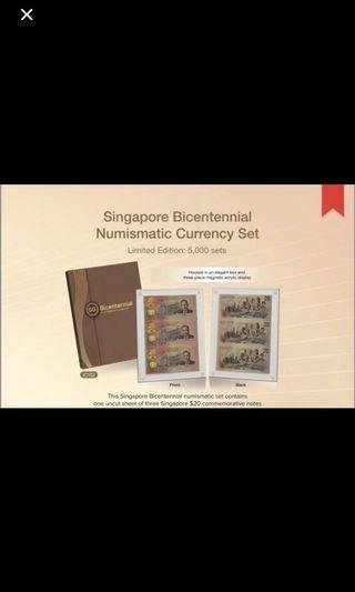 Singapore Bicentennial Numismatic Currency Set (3-in-1 Uncut Sheet SGD20)