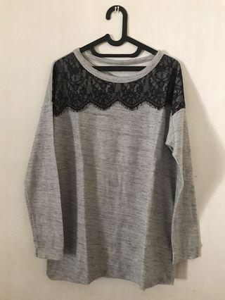Pull&Bear Grey Lace