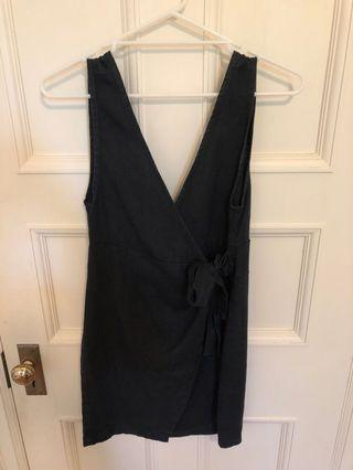 SIR black linen wrap dress