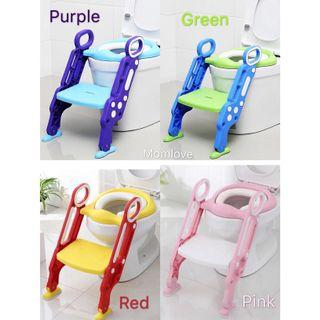 Ready Stock! (Upgraded PVC Seat! Softer Now😍) Brand New Baby Toddler Children Kids Adjustable Potty Ladder Foldable Portable Toilet Chair Training Seat with Step Stool
