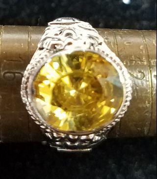 925包18k白金 黃晶戒指