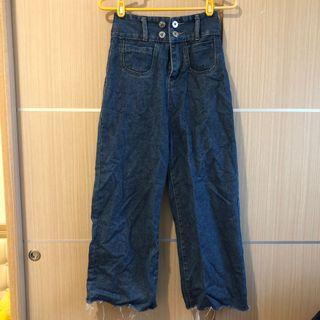 深藍色牛仔高腰寬褲