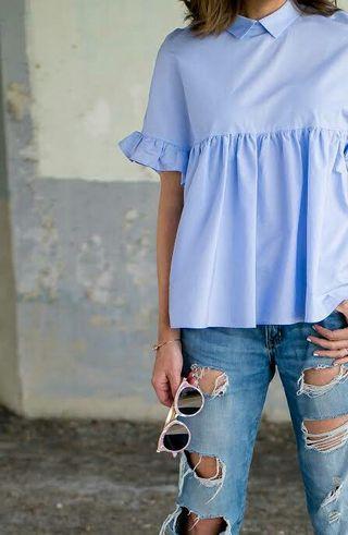 ZARA Blue Ruffle Sleeve Top