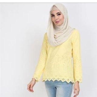 POPLOOK Scallop Hem Blouse Yellow SIZE:XS (RM30 FREE POSTAGE)
