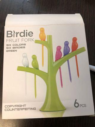 全新 水果叉 小鳥和樹 Birdie Fruit Fork