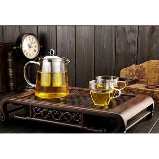 Borosilicate Tea Pot Set with 2 cups - one set available