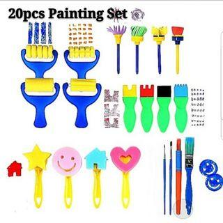 (Incl Free Postage) 20pcs Art and Craft Painting Paint Brushes Sponge Stamps Scrap Books Tools Educational Set