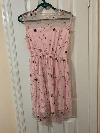 Pink Embroidered Lace Dress Size Small