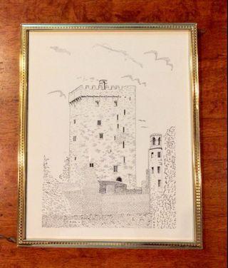 Vintage Castle Art Print Metal Golden Frame UK 26x21cms