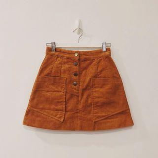 BNWT Saturday Club Dark Orange Corduroy Skirt with Pocket Front