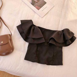 🚚 🆕 優質甜美一字領雙層荷葉邊上衣 size:Free  Black