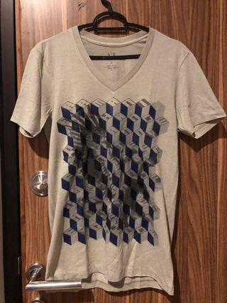 Armani exchange v neck grey shirt