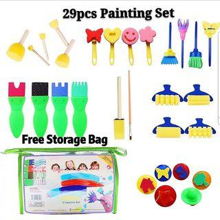 (Incl Postage) 29pcs Art and Craft Painting Paint Brushes Sponge Stamps Scrap Books Educational Montessori Creative Set Crayola Steadtler