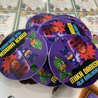 Hang tags for birthday party goodie bag - PJ Mask