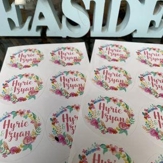 Floral stickers labels for engagement wedding