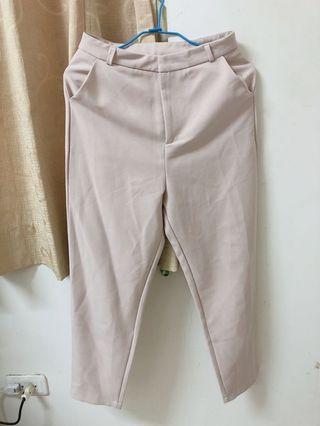 🚚 韓系裸色藕色西裝不易皺材質長褲