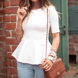 Zara TRF White Peplum Top