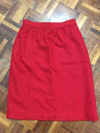 US-made red wool skirt with pockets