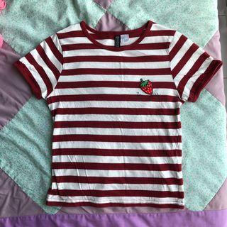 H&M Stripes Strawberry Tshirt Top
