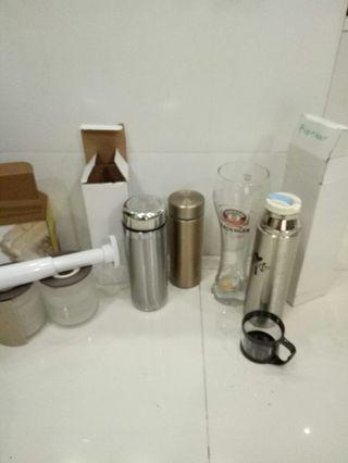 Brand new 3 vacuum flask, 2 in coffee glass jur set n tall glass