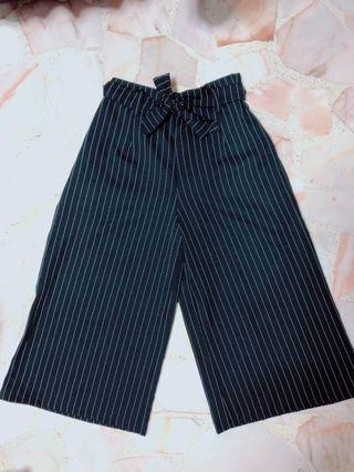 Striped high waisted long pants | Striped Culottes