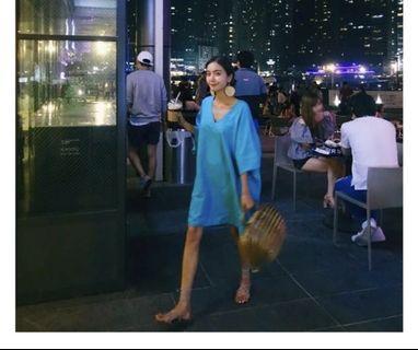 「網路購入」土耳其藍綠棉麻洋裝