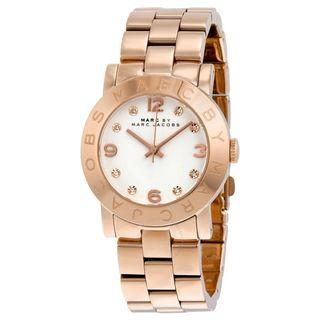 New MARC BY MARC JACOBS White Dial Rose Gold-Tone Ladies Watch (MBM3077)