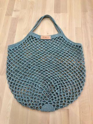 手工鉤針編織苧麻手提網袋 網包 網美包
