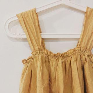 Korean Yellow Square Neck Ruffle Flare Top