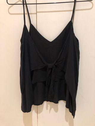 H&M black tie up cami, open back size 6 (XS)